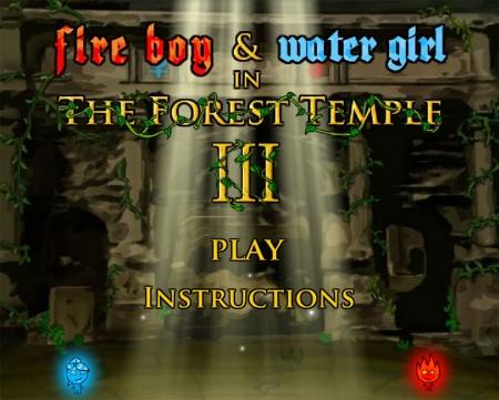 Огонь и Вода 3 игра на двоих Лесной храм